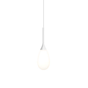 Parisone Satin White LED Pendant with White Cased Glass
