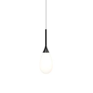 Parisone Satin Black LED Pendant with White Cased Glass