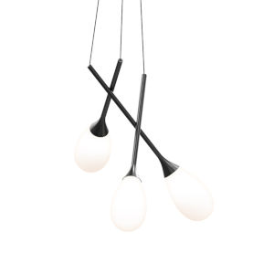 Parisone Satin Black 26-Inch Three-Light LED Pendant with White Cased Glass