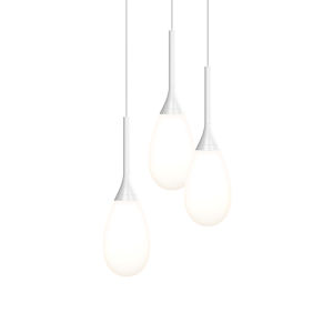 Parisone Satin White Three-Light LED Pendant with White Cased Glass