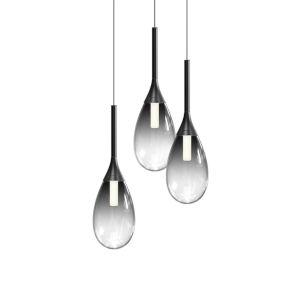 Parisone Satin Black Three-Light LED Pendant with Smoke Glass