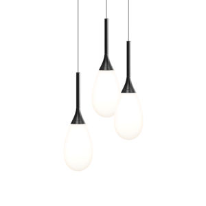Parisone Satin Black Three-Light LED Pendant with White Cased Glass