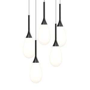Parisone Satin Black Five-Light LED Pendant with White Cased Glass