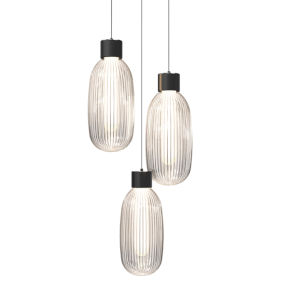 Friso Satin Black Three-Light LED Pendant