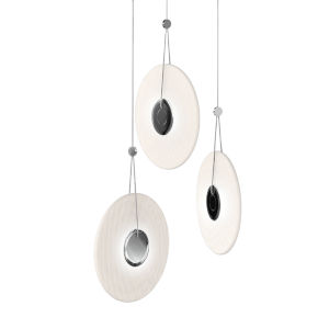 Meclisse Polished Chrome Three-Light LED Pendant with Etched Glass
