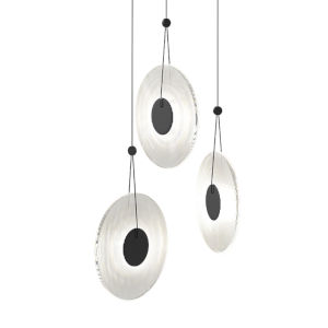 Meclisse Satin Black Three-Light LED Pendant with Clear Glass