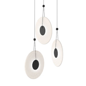 Meclisse Satin Black Three-Light LED Pendant with Etched Glass