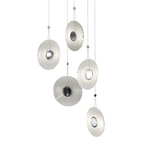 Meclisse Polished Chrome Five-Light LED Pendant with Clear Glass