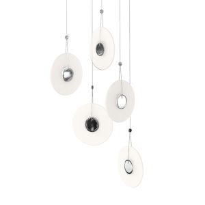 Meclisse Polished Chrome Five-Light LED Pendant with Etched Glass