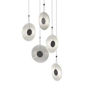 Meclisse Satin Black Five-Light LED Pendant with Clear Glass