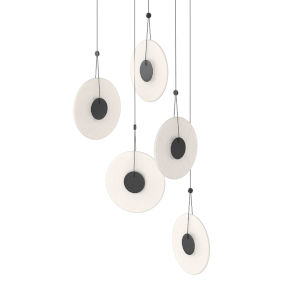Meclisse Satin Black Five-Light LED Pendant with Etched Glass