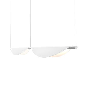 Tela Satin White Two-Light LED Double Pendant