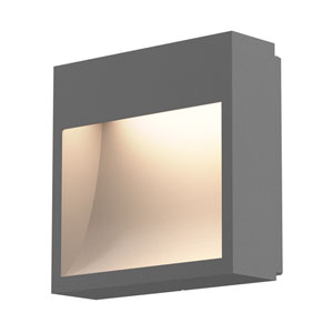 Square Curve Textured Gray LED 7-Inch Wall Sconce