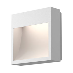 Square Curve Textured White LED 7-Inch Wall Sconce