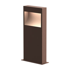 Square Curve Textured Bronze LED 7-Inch Bollard