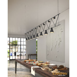 Suspenders Satin Black 14-Feet Eight-Light LED Linear Chandelier