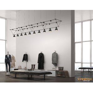 Suspenders Satin Black 14-Feet 26-Light LED Linear Chandelier