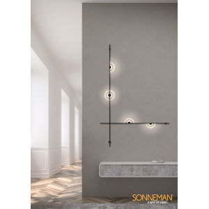 Suspenders Satin Black Two-Bar Five-Light LED ADA Wall Mount