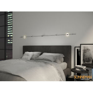 Suspenders Satin Black 12-Feet Eight-Light LED ADA Linear Chandelier