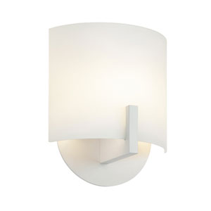 Scudo Bright Satin Aluminum LED Wall Sconce with White Etched Glass
