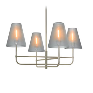 Bistro Four-Light - Polished Nickel with Silver Organza Shaded Chandelier