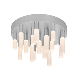 Staccato Bright Satin Aluminum 16 LED-Light Flush Mount with White Etched Shade