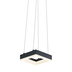 Corona Satin Black LED Square Mini Pendant with Frosted Acrylic Shade