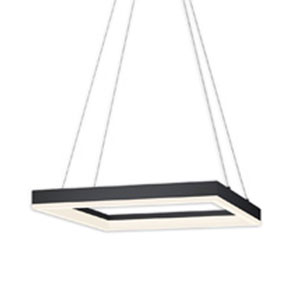 Corona Satin Black LED 19-Inch Square Pendant