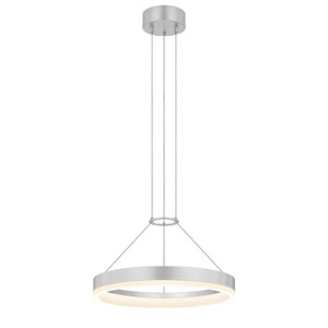 Corona Bright Satin Aluminum LED 16-Inch Pendant with White Etched Shade