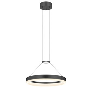 Corona Satin Black LED 16-Inch Pendant with White Etched Shade