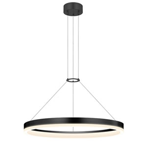 Corona Satin Black LED 24-Inch Pendant with White Etched Shade