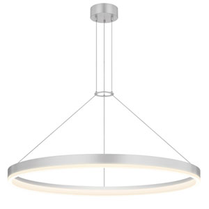 Corona Bright Satin Aluminum LED 32-Inch Pendant with White Etched Shade
