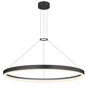Corona Satin Black LED 32-Inch Pendant with White Etched Shade