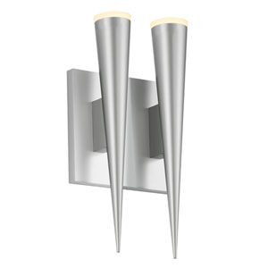 Micro Cone Bright Satin Aluminum LED Two Light Double Cone Wall Sconce