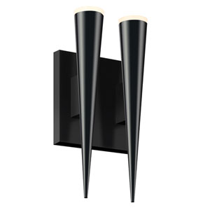 Micro Cone Satin Black LED Two Light Double Cone Wall Sconce
