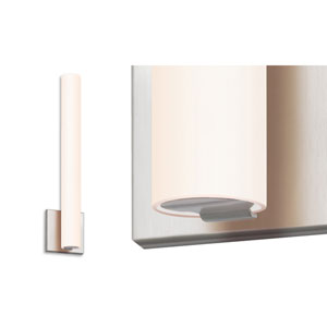 Tubo Slim Satin Nickel 18-Inch Wall Sconce with White Etched Glass