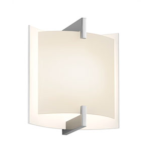 Double Arc Polished Chrome Wall Sconce with White Etched Glass