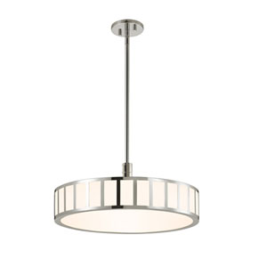 Capital Polished Nickel LED 22.5-Inch Pendant with White Glass