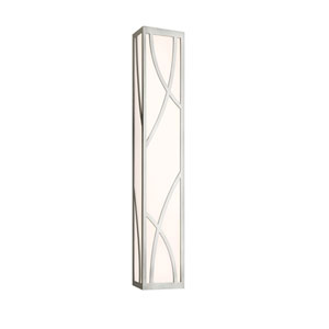 Haiku Satin Nickel LED Bath Fixture Strip with White Glass