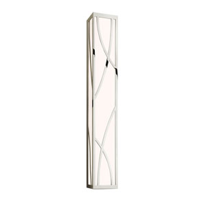 Haiku Polished Nickel LED 35-Inch Bath Fixture Strip with White Glass
