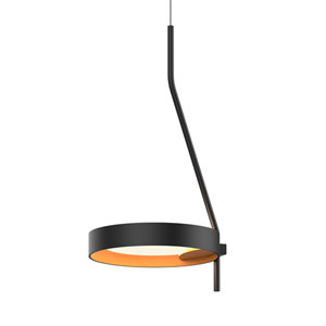 Light Guide Ring Satin Black LED Mini Pendant with Apricot Interior Shade