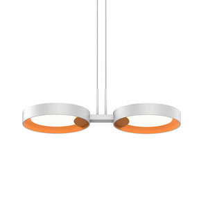 Light Guide Ring Satin White Two-Light LED Pendant with Apricot Interior Shade