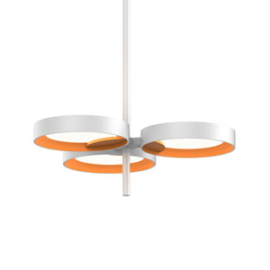Light Guide Ring Satin White Three-Light LED with Apricot Interior Shade