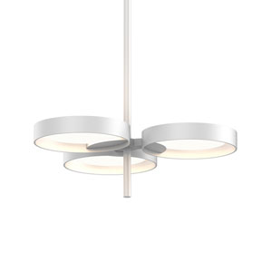 Light Guide Ring Satin White Three-Light LED with Satin White Interior Shade