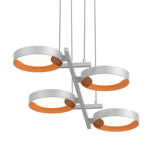 Light Guide Ring Satin White Four-Light LED with Apricot Interior Shade