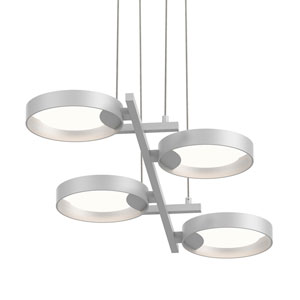 Light Guide Ring Satin White Four-Light LED with Satin White Interior Shade