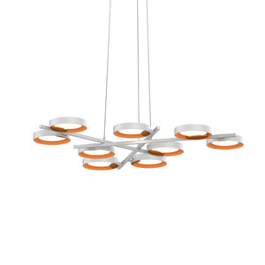 Light Guide Ring Satin White Nine-Light LED with Apricot Interior Shade