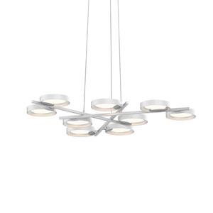 Light Guide Ring Satin White Nine-Light LED with Satin White Interior Shade