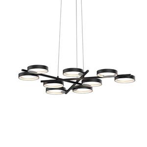 Light Guide Ring Satin Black Nine-Light LED Pendant with Satin White Interior Shade