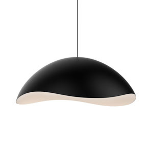 Waveforms Satin Black LED Small Dome Pendant with White Interior Shade